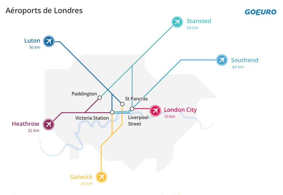 Carte aéroports Londres
