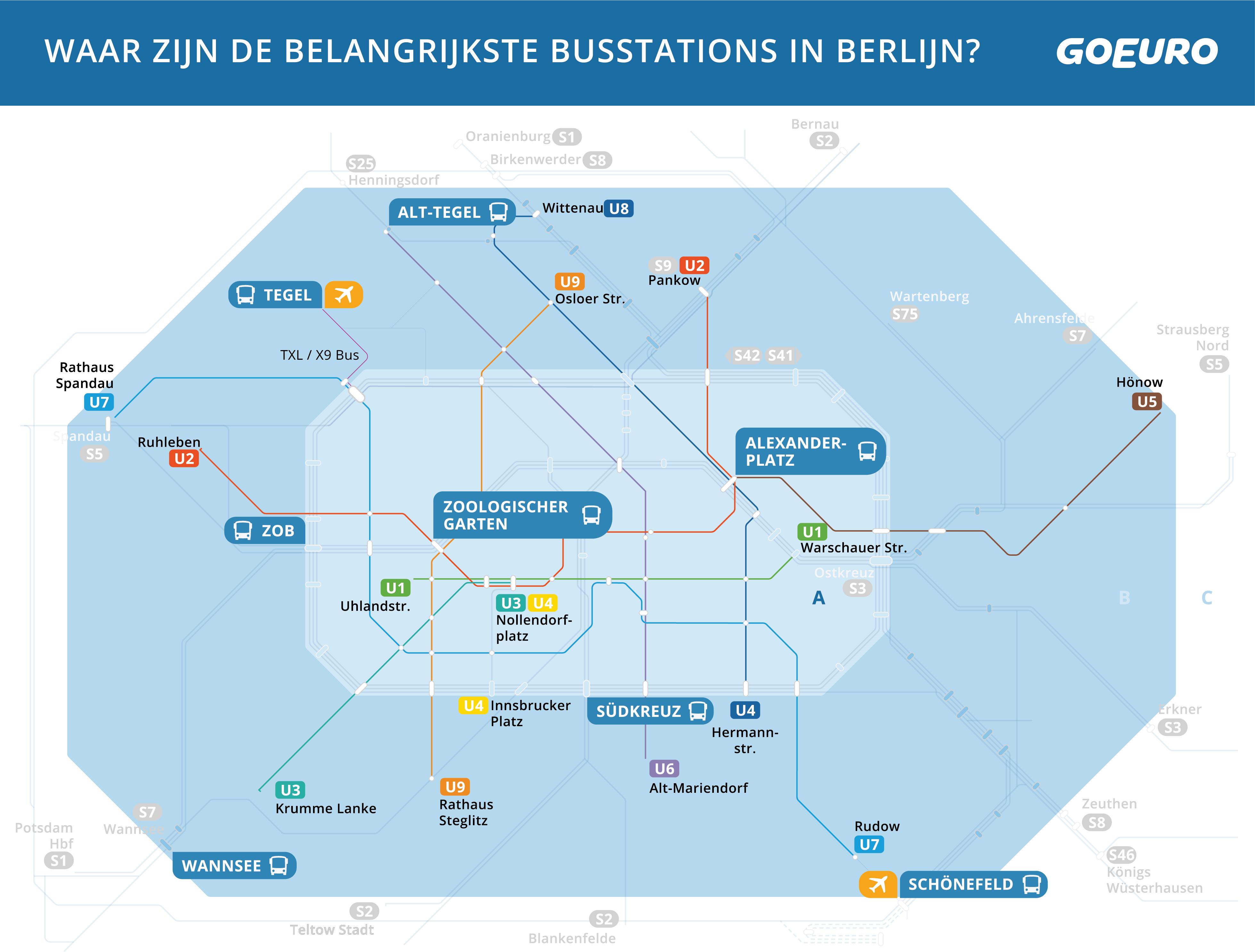 Kaart van busstations en U-Bahnstations in Berlijn